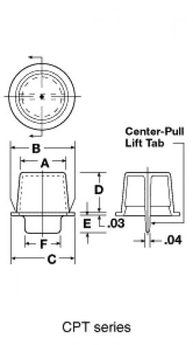 line diagram - centre pull-tab tapered plugs