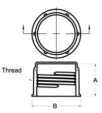 Line Diagram - Threaded Plastic Caps for Metric Fittings