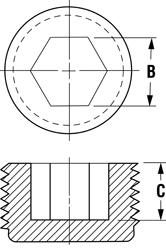 Line Diagram - Hex Socket Threaded Plugs