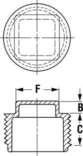 Line Diagram - Square-Head Threaded Plugs